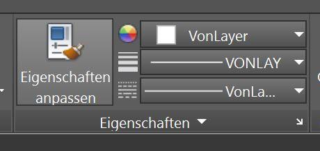 """AutoCAD: Objekteigenschaften auf """"vonLayer"""" setzen."""